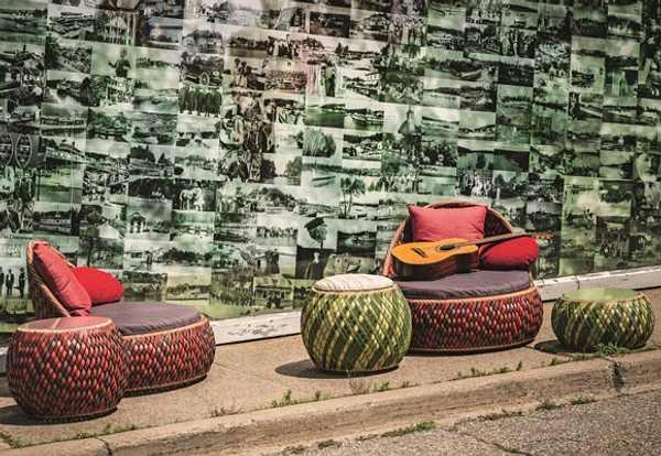 muebles de exterior con colores