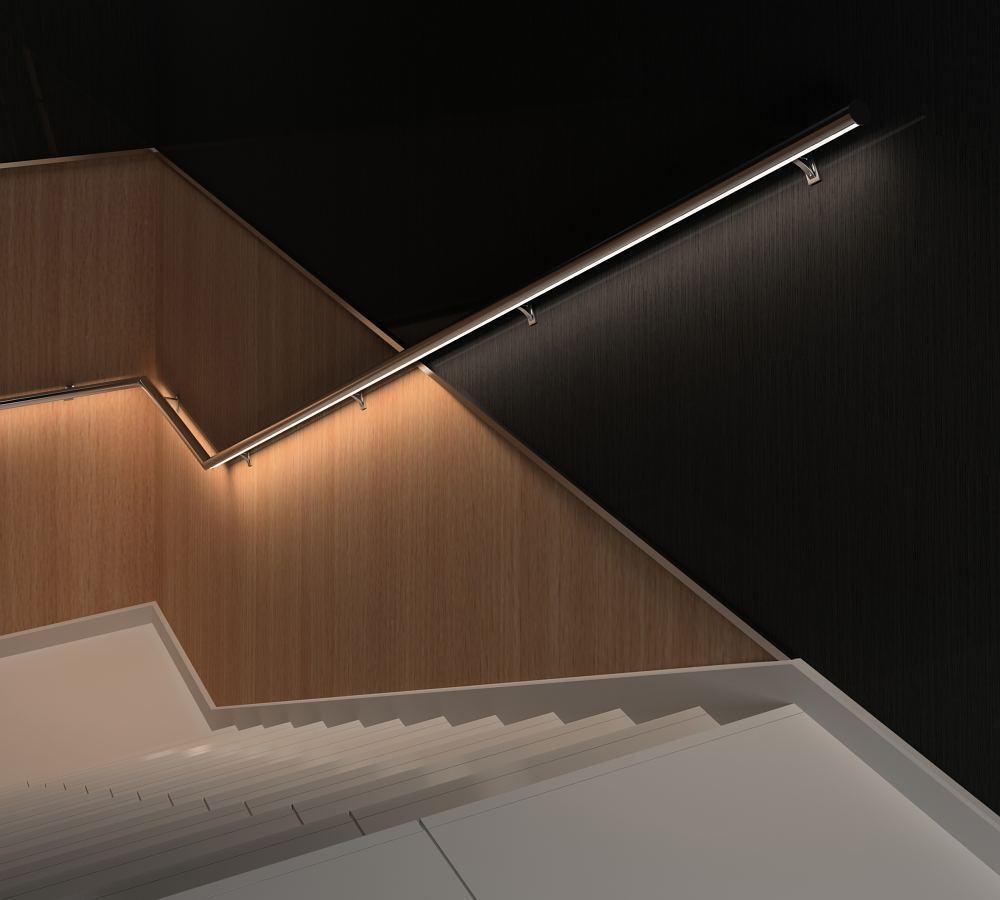 sistema de pasamanos con luz LED