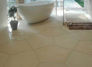 Suelo para el baño de mosaicos de hormigón