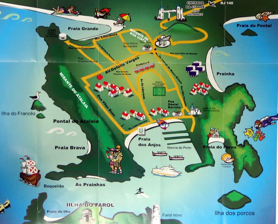 Resultado de imagem para mapa das praias de arraial