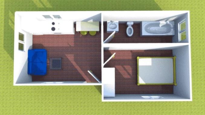 Plano casa prefabricada sobre losa de hormigón