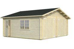 garaje para coches de madera Roger 28.4 de Casas Carbonell con puertas cocheras