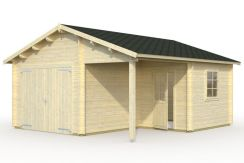 Doble acristalamiento. Correas fuertes de madera laminada. Se incluyen listones decorativos para puertas y ventanas.