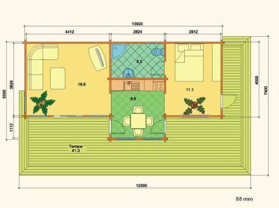 Plano de cabaña de madera en kit Astrid