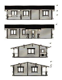 Alzados de kit casas en madera Evelin