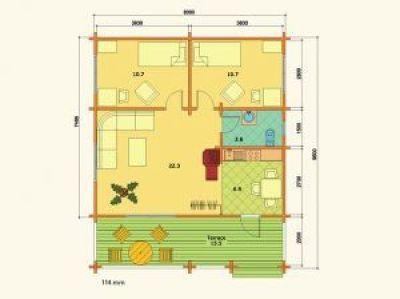 Plano de planta de casas de madera laminada en kit Ingrid