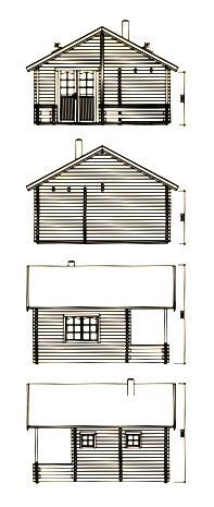 alzados de casita de madera sauna Leia 1