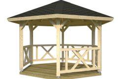 pergola de madera para jardín Betty 9.9 de Casas Carbonell de madera laminada