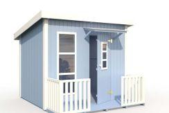 caseta de madera infantil Harrry de Casas Carbonell pintada de azul