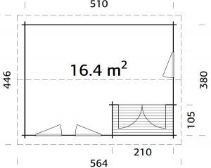 Plano de Casetas jardín con terraza SUSANNA 16,4