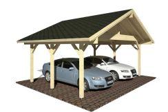 cochera de madera Robert 20.6 de Casas Carbonell para dos coches