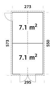 trastero para jardín Dan 14, plano
