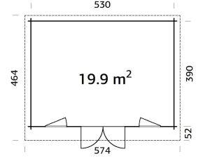 Plano de Caseta de jardín sólida, cabañaBRET 14,8 m²