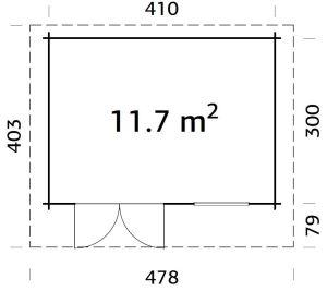Plano de Caseta de jardín robusta, cabaña HEIDI 11,7 m².