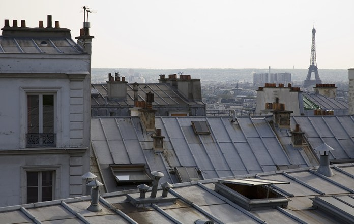 Rooftops and the Eiffel Tower from Montmartre, Paris