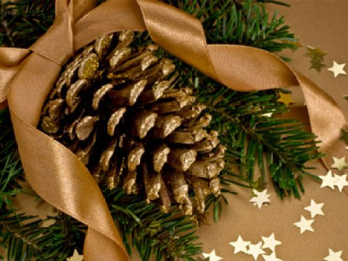 more-budget-Christmas-decorations-02-gold-pinecones-sl