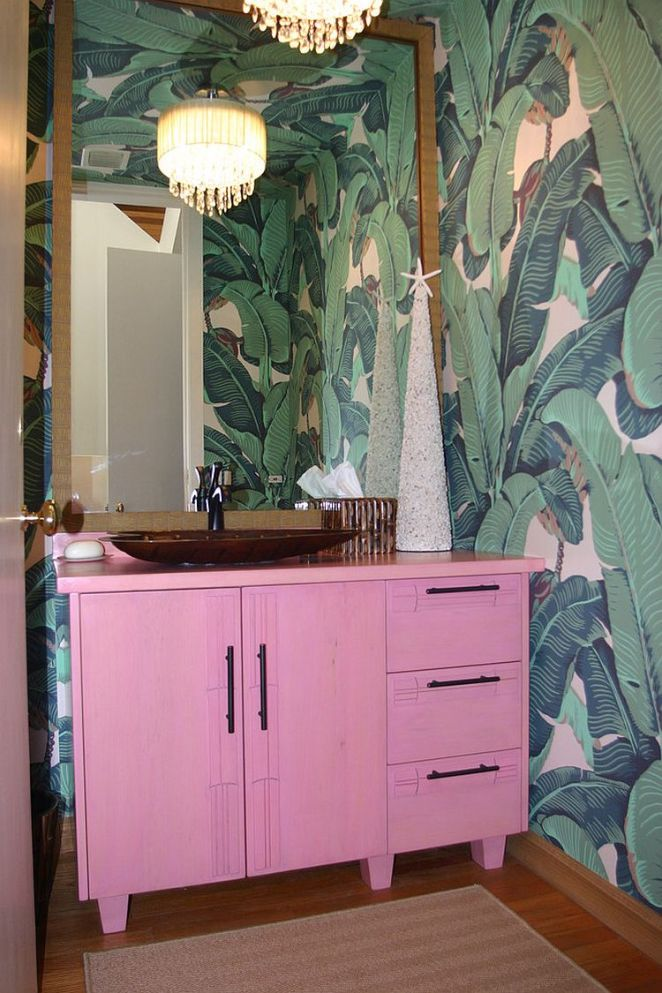 Custom-pink-vanity-for-the-smart-tropical-bathroom