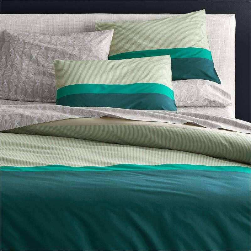 Teal-striped-bedding-from-CB2