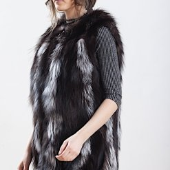 Vesta din blana naturala de vulpe argintie - DIM 02