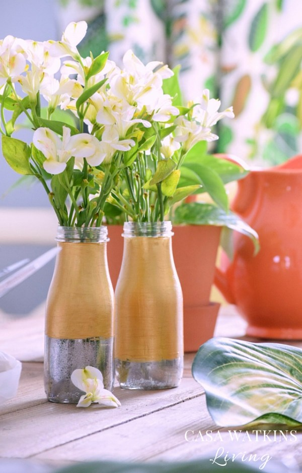 Create a unique two toned vase with recycled bottles!