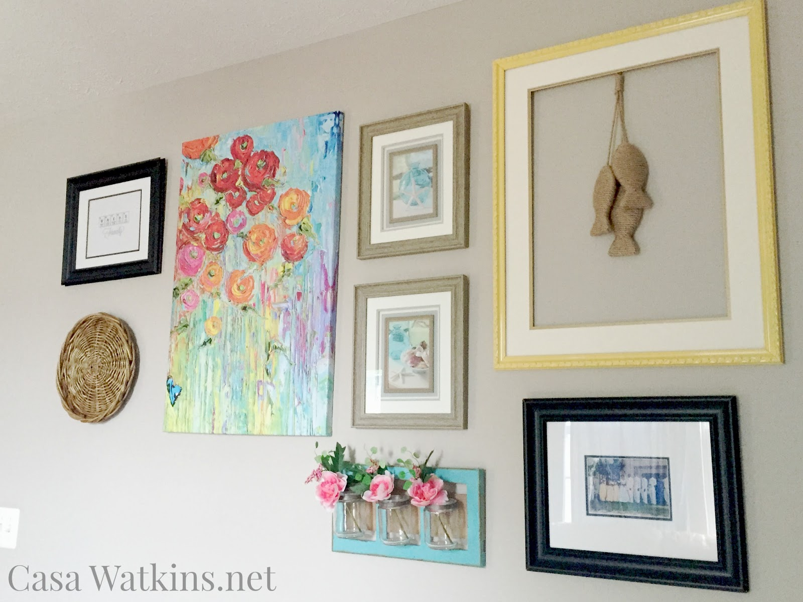 Color of art gallery walls - Color Is A Must Here In The Casa Having A Neutral Greige Wall Color Makes Any Color Item Pop Right Off The Wall I Came Across This Beautiful Canvas Art At