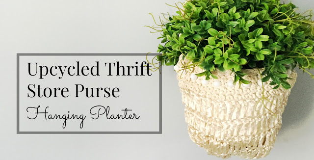 Upcycled Thrift Store Purse Hanging Planter.  A much better idea than having those old purses collect dust in the closet.