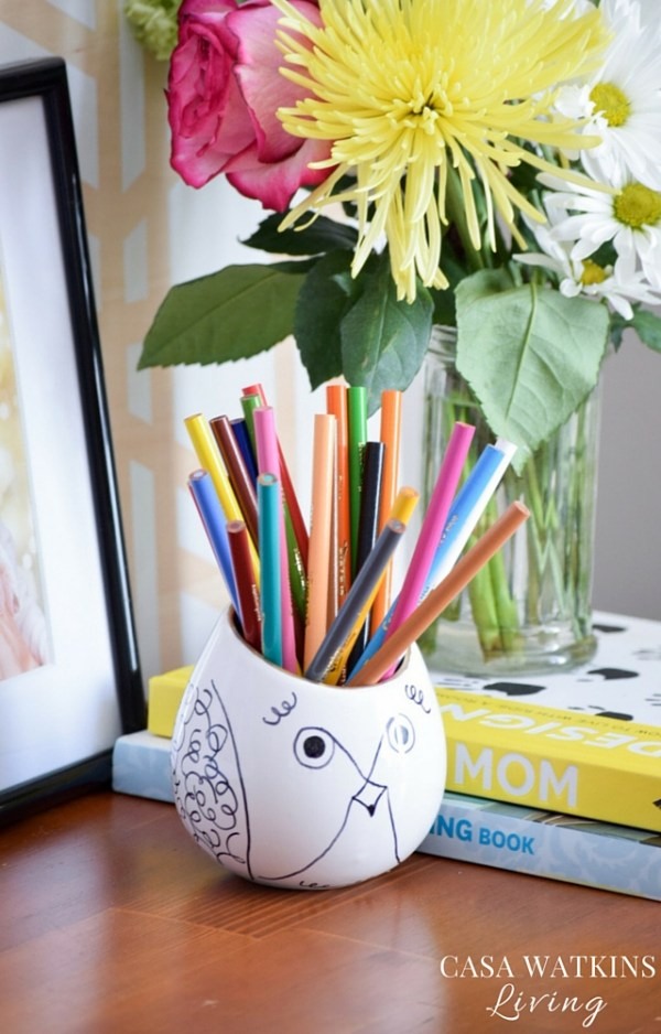DIY Kate Spade inspired pencil holder from a planter