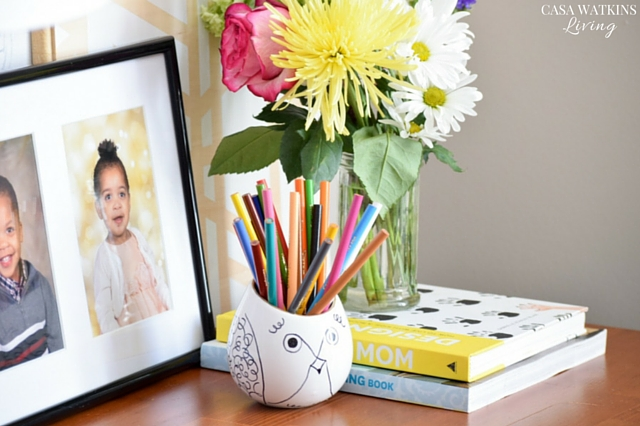 Cute DIY Kate Spade inspired pencil holder from upcycled planter