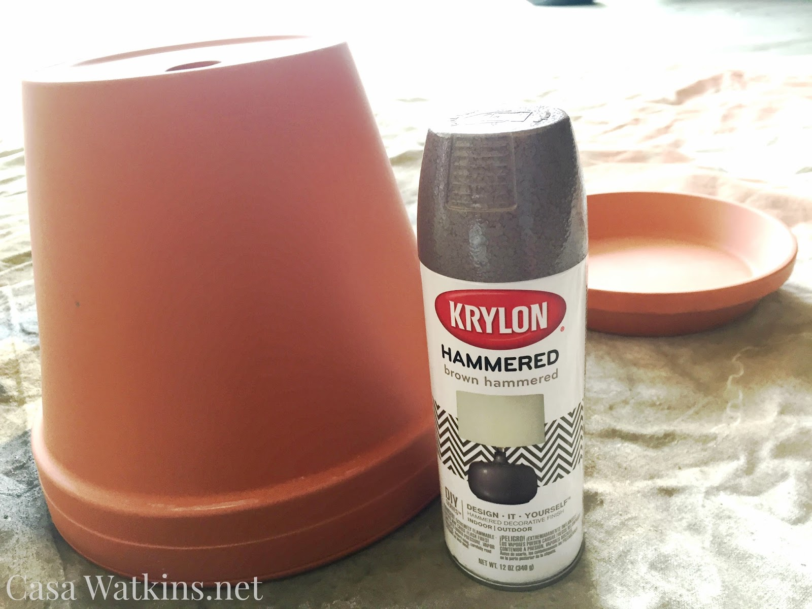 Hammered Brown Painted Terra Cotta Pot Makeover Casa Watkins Living