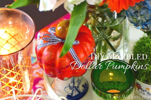 Marbled Dollar Store Pumpkins Fall Tablescape