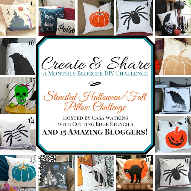 The Create and Share DIY Blogger Challenge is all about stenciled Halloween and Fall pillows! 16 great DIY pillow ideas.