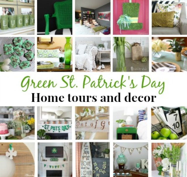 Green St Patricks Day home tours and decor
