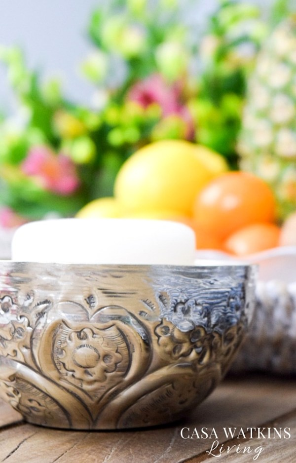 DIY candle holders from metal Moroccan Hammam bowls