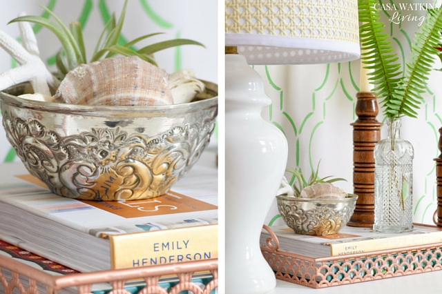 Use a mini silver Moroccan hammam bowl with sea shells and air plant for tropical/coastal summer style