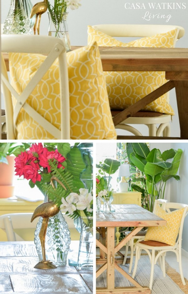 Mix farmhouse table and bistro chairs with yellow pillows for colorful summer home decor