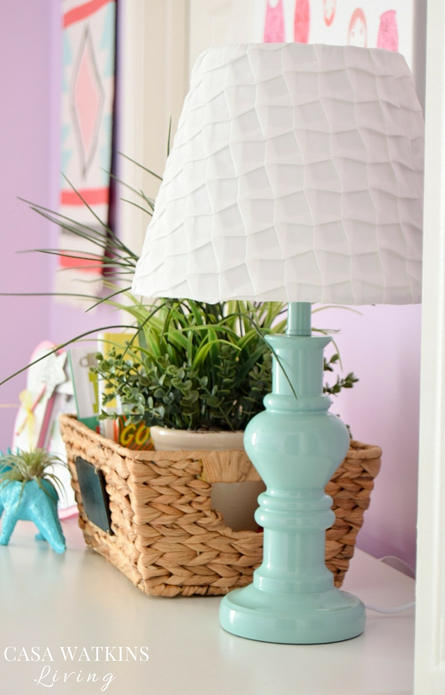 Pretty teal lamp with pleated lamp shade for girl's boho theme room