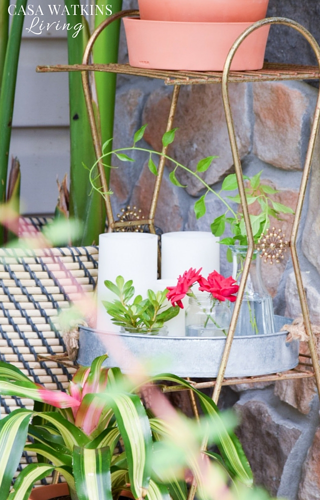 Use jars for floral arrangements outdoors. Affordable and easilly replaceable if any changes needed.