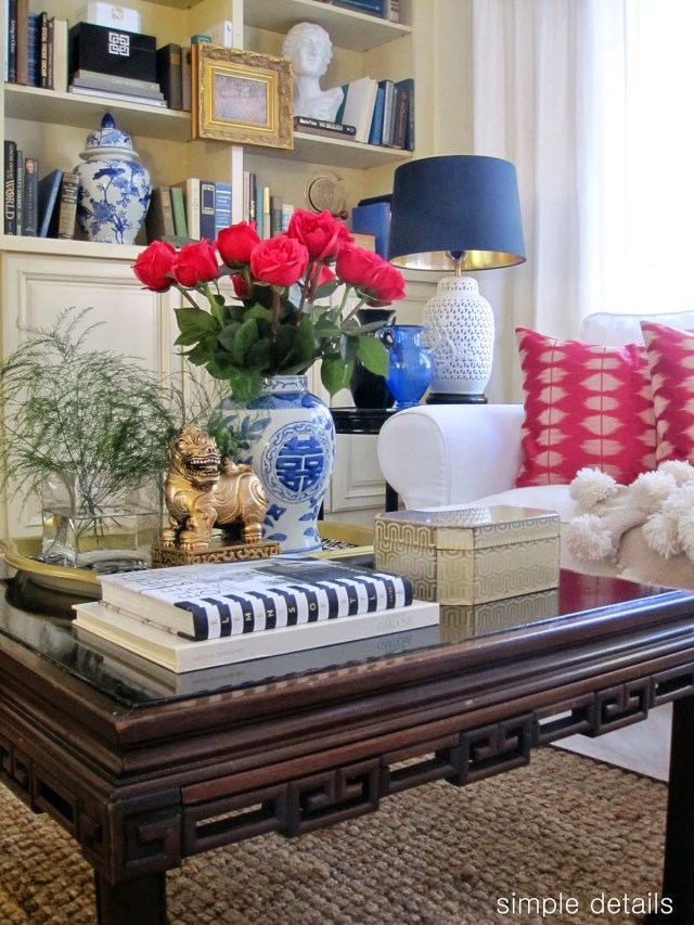 coffee table styling - blue and white ginger jar - chinoiserie - Simple Details