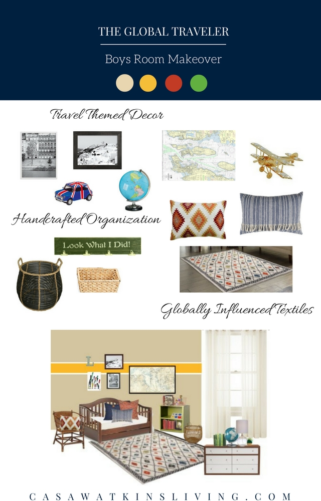 Boys room makeover with global travel theme mood board
