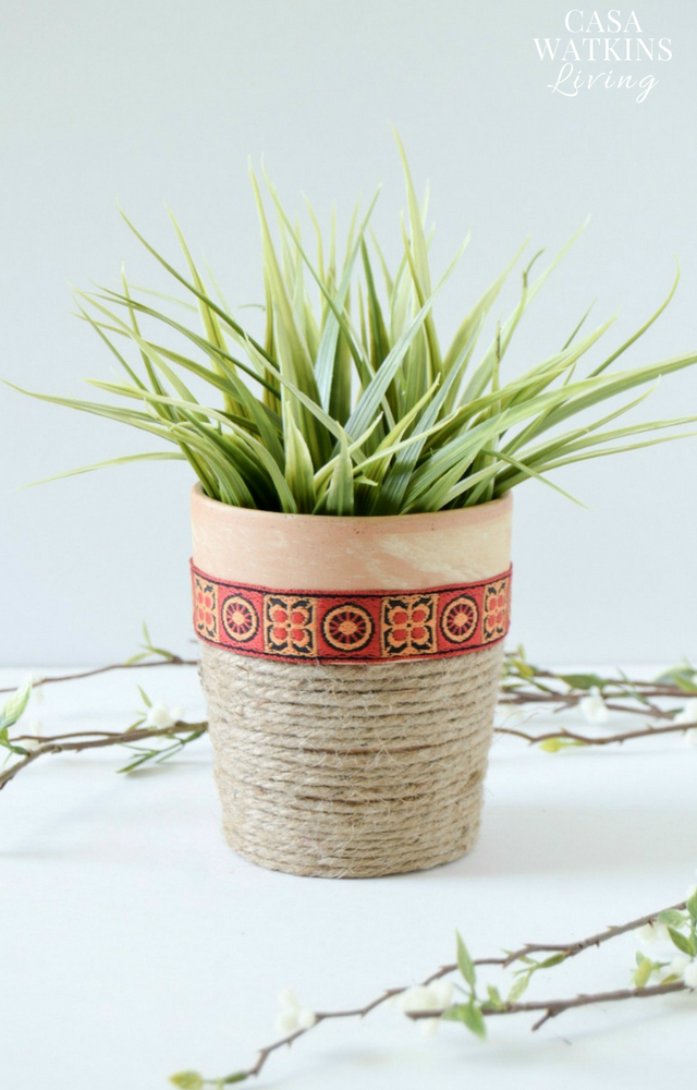 Easy jute rope planter tutorial