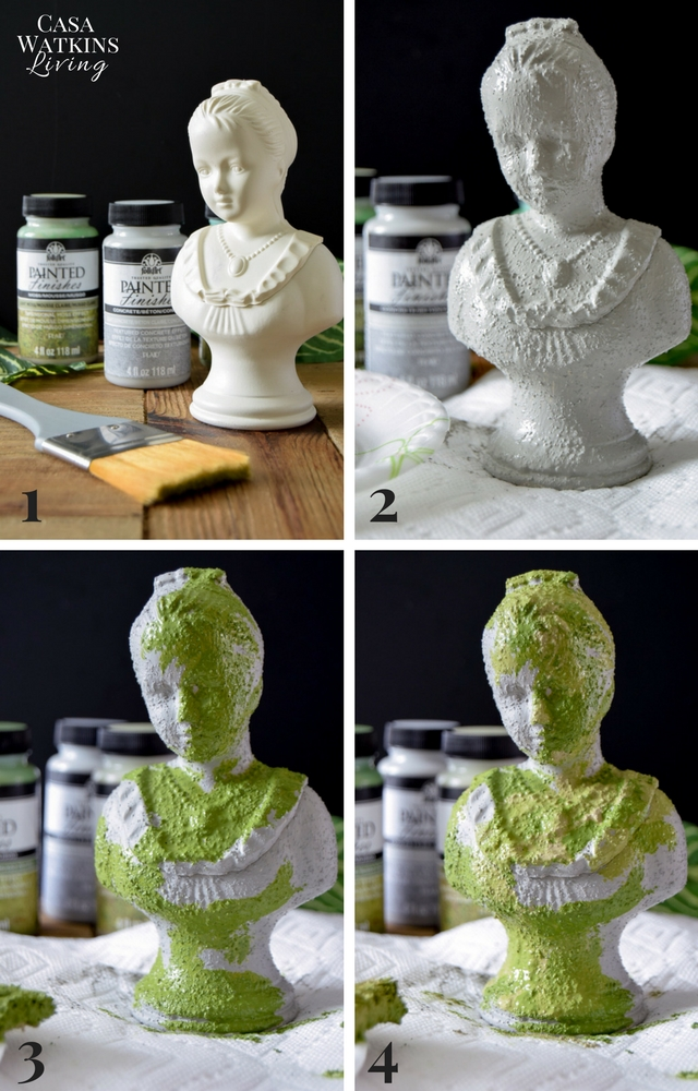 Make a faux concrete and faux moss jewelry holder with paint!