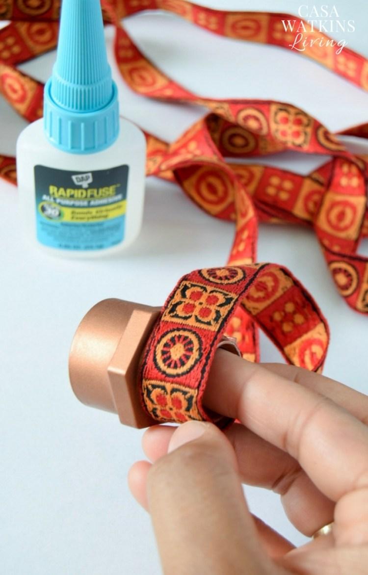 Make DIY napkin rings using pvc pipe screw fittings