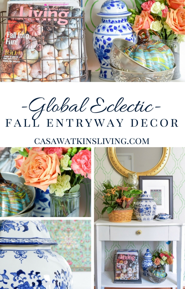 Decorate a fall entryway with global style. Pops of color with global accents