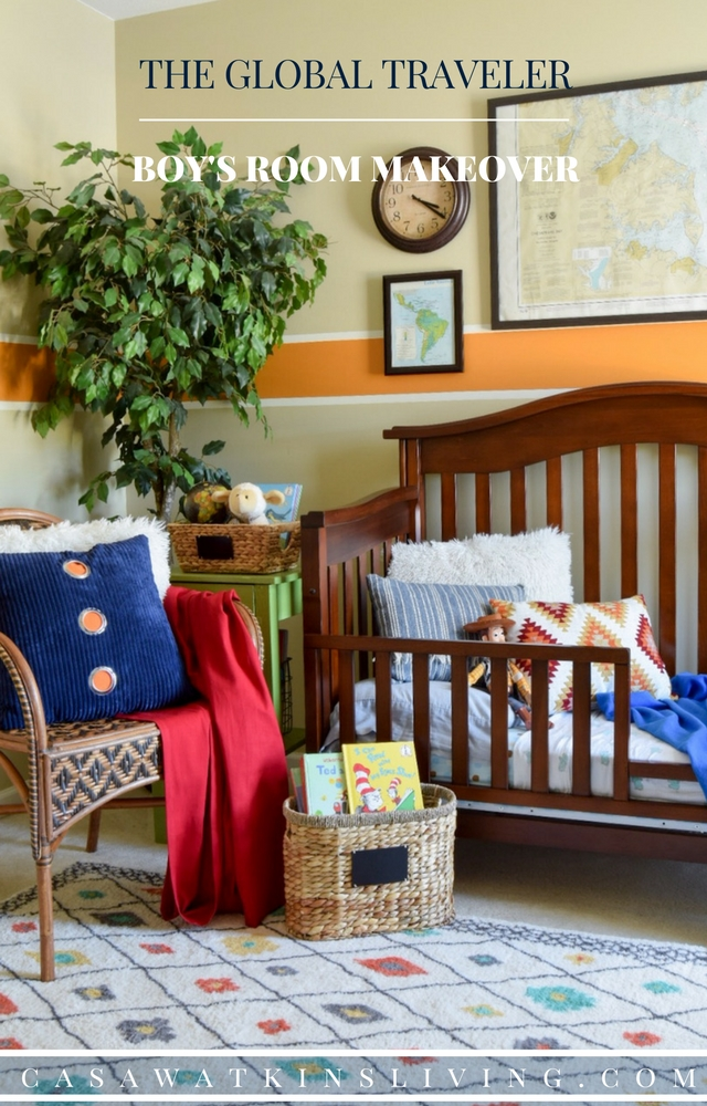 Beautiful global traveler themed boys room makeover