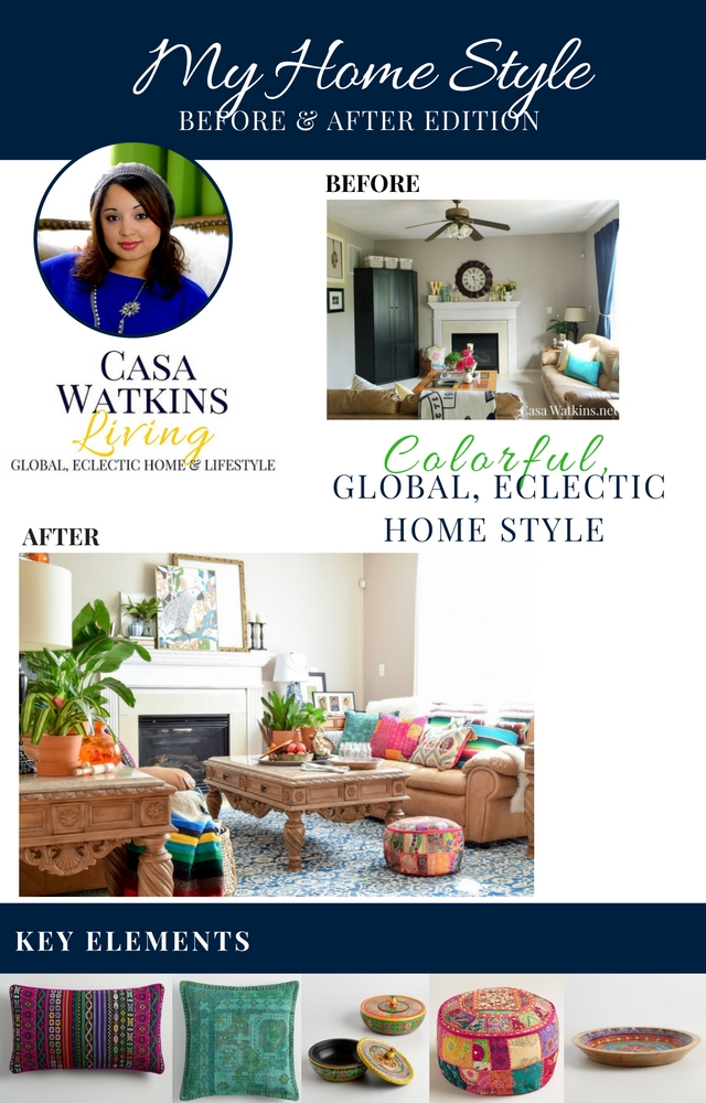 Colorful global style family room transformation