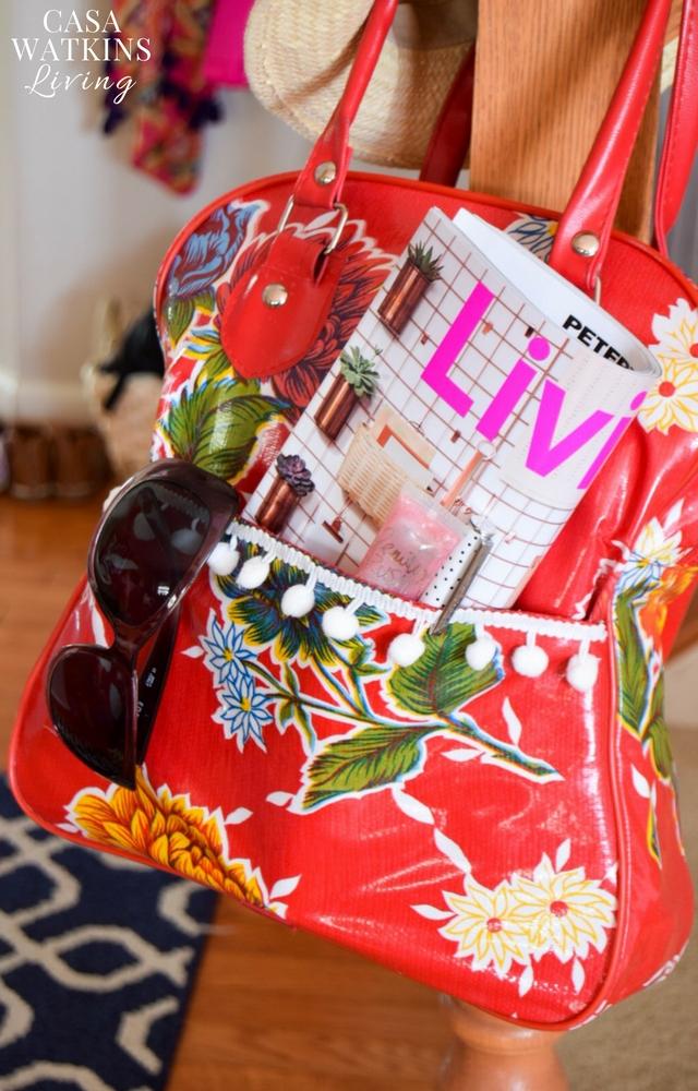 DIY purse makeover with pom pom fringe!