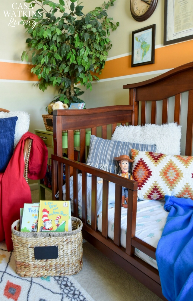 Aztec inspired pillows in colorful boy's room