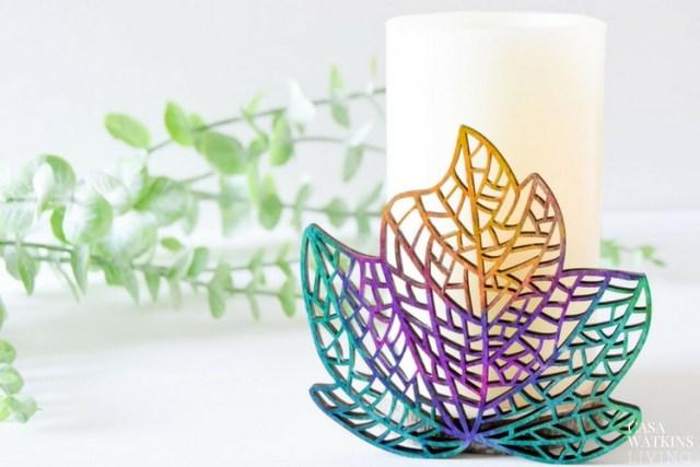 Colorful DIY wooden candleholder