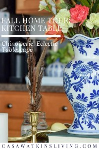 Chinoiserie fall kitchen table decor with books