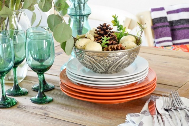 Stacked plates for fall table decor